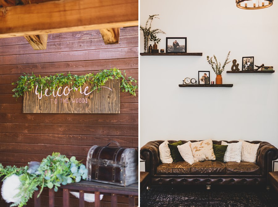 Aldea Weddings in the Woods: Styled Shoot welcome and couch