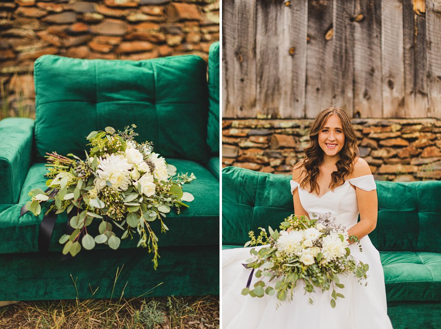 Flagstaff Arizona Venues: Styled Shoot velvet green couch