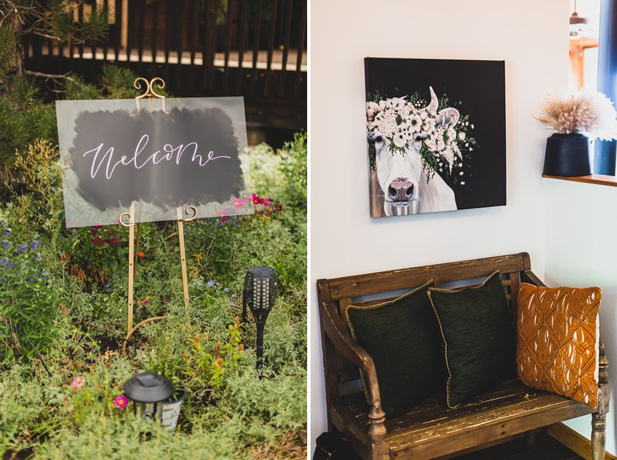 Aldea Weddings in the Woods: Styled Shoot welcome signage