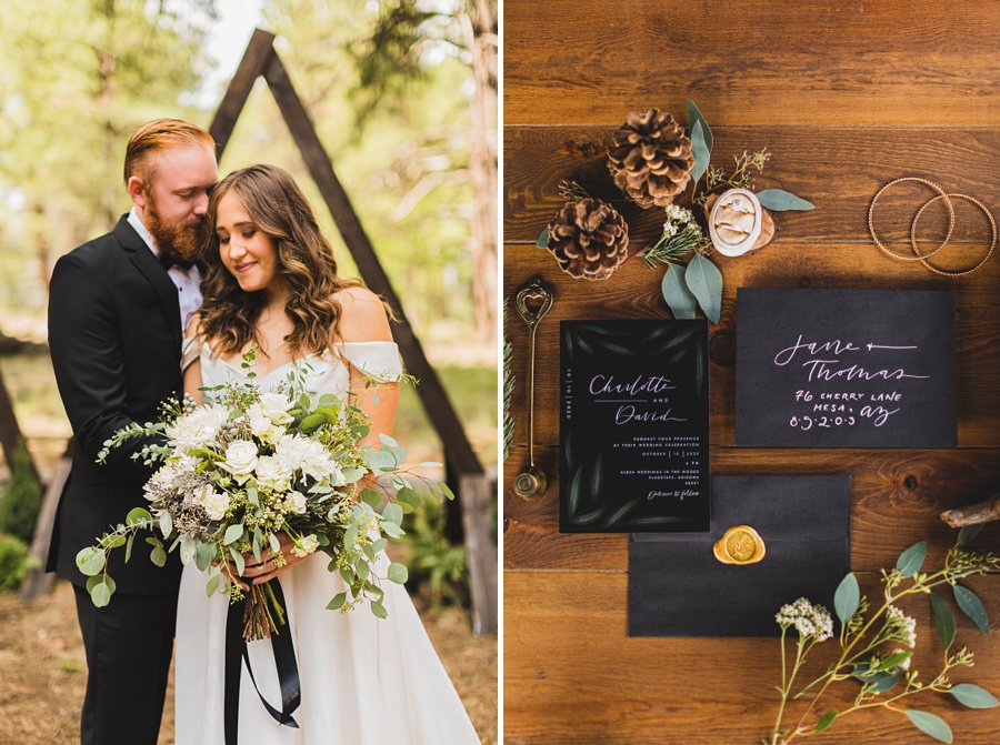 Flagstaff Arizona Venues: Styled Shoot bride and groom together