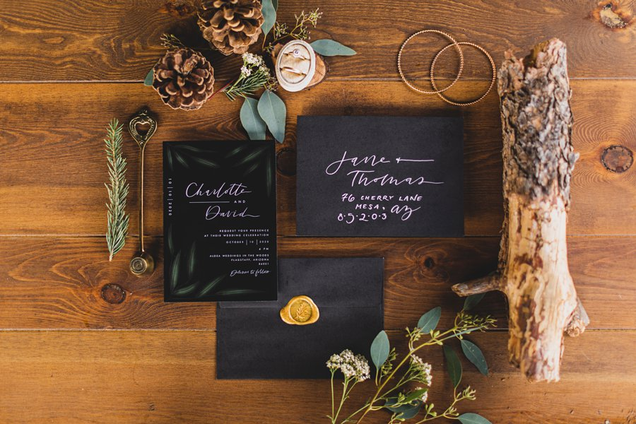Aldea Weddings in the Woods: Styled Shoot flat lay details maddy made designs