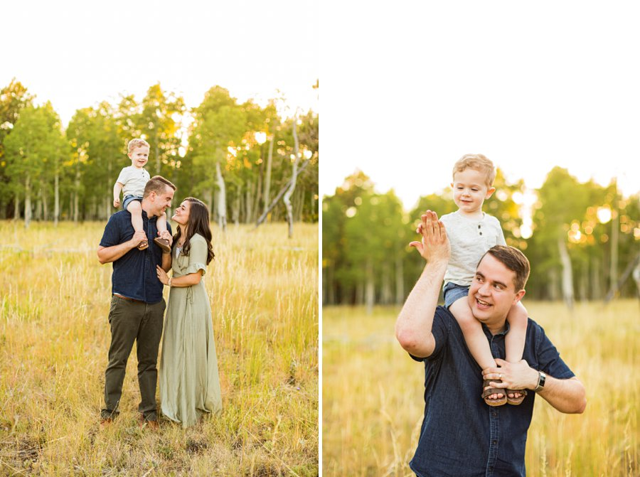 Anderson Family: Northern AZ Portrait Photography Aspens poses for dad and son