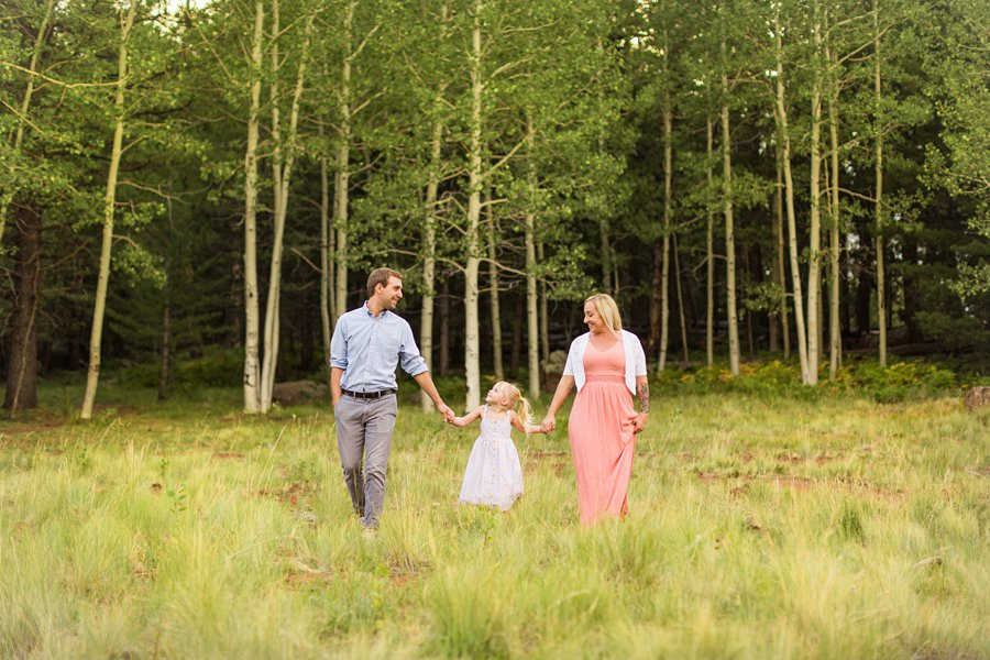 The Flood Family: Arizona Sunflower Family Session walking in the aspens