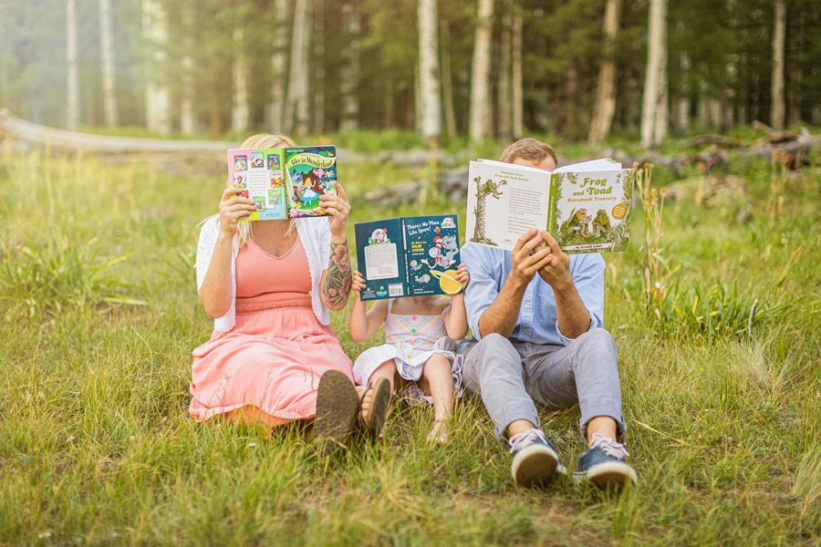 The Flood Family: Arizona Sunflower Family Session reading dr seuss books together