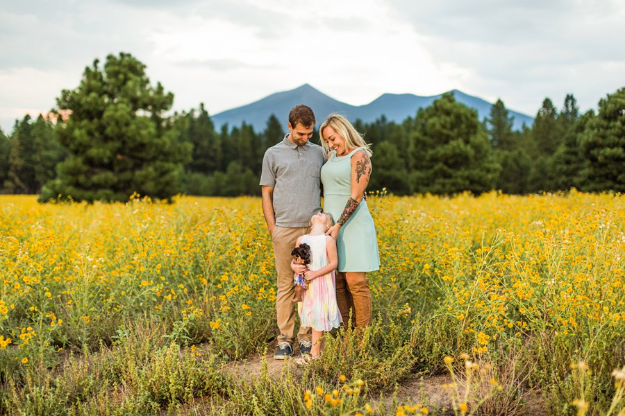 The Flood Family: Flagstaff Aspen Trees Photography mom dad and daughter