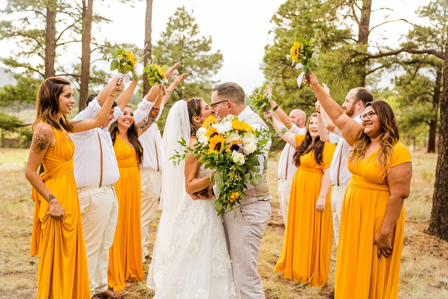 Hannah and Stephen: Meadow Mountain Flagstaff Wedding bridal party poses and prompts