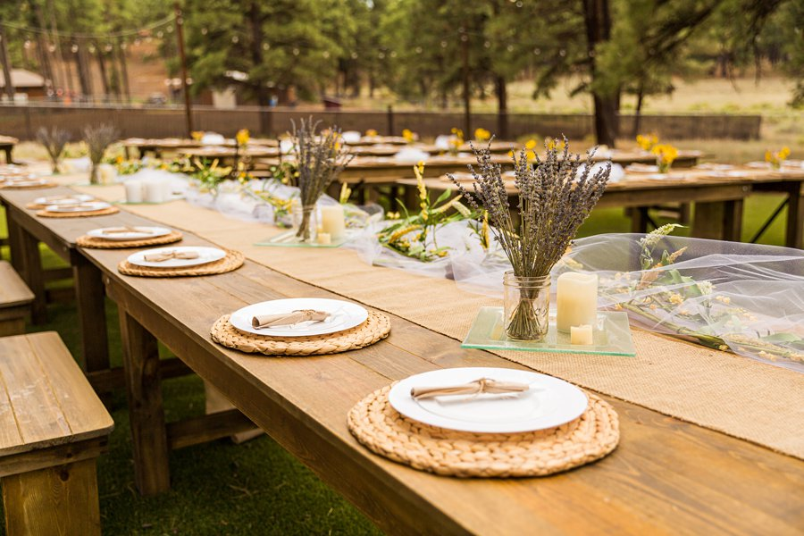 Hannah and Stephen: Meadow Mountain Flagstaff Wedding lavendar and sunflowers