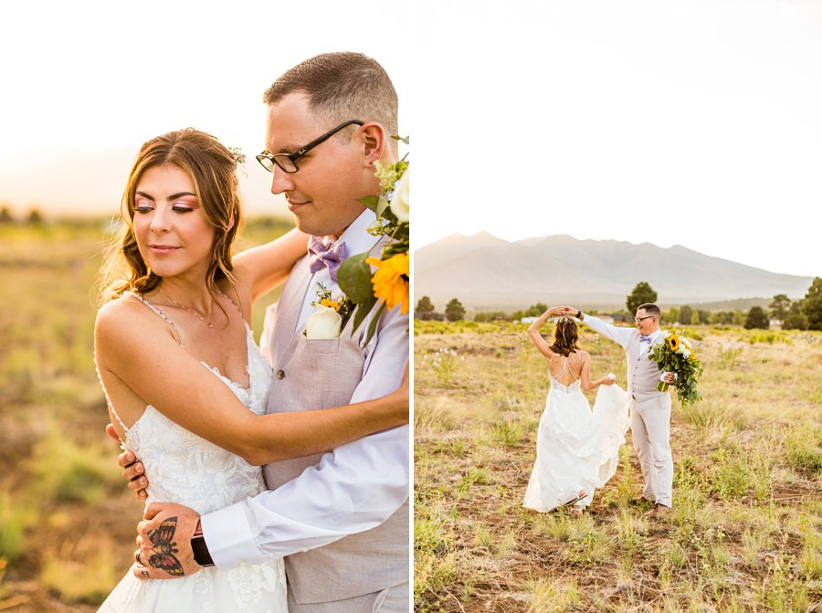 Hannah and Stephen: Meadow Mountain Flagstaff Wedding couple dancing in the meadow