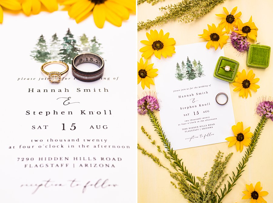 Hannah and Stephen: Northern Arizona Intimate Ceremonies rings and invitations