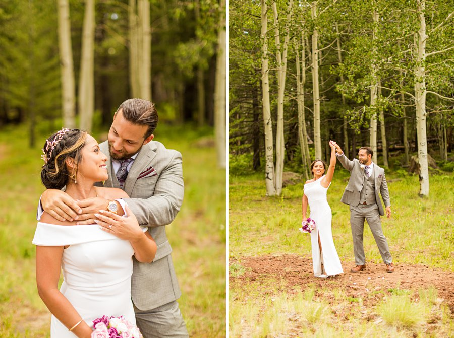 Jeanne-Marie and Rami: Arizona Mountains Wedding dancing in the forest
