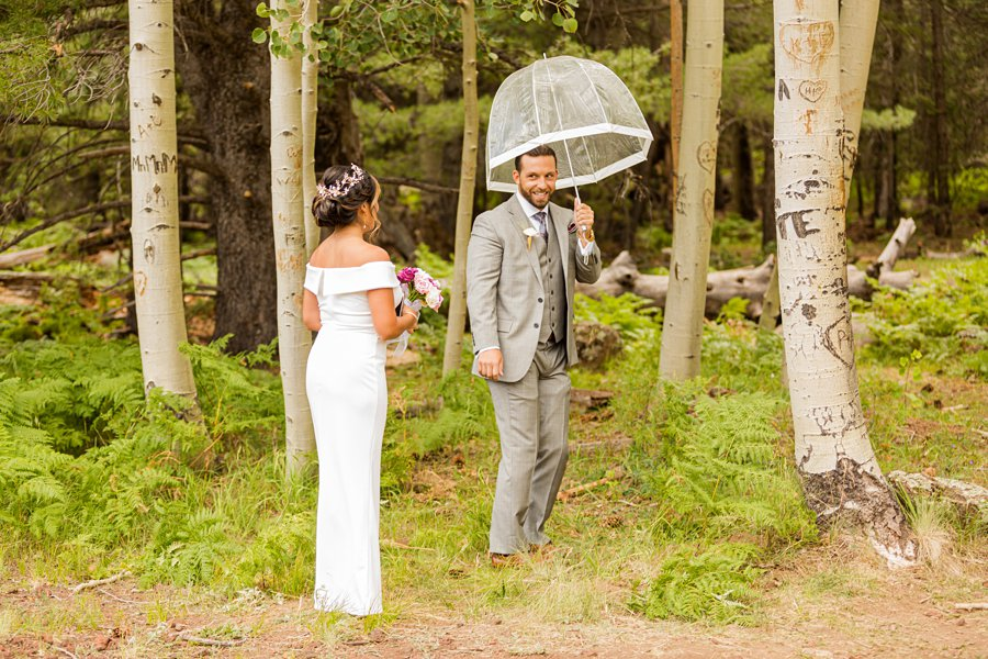 Jeanne-Marie and Rami: Arizona Mountains Wedding bride and groom first look