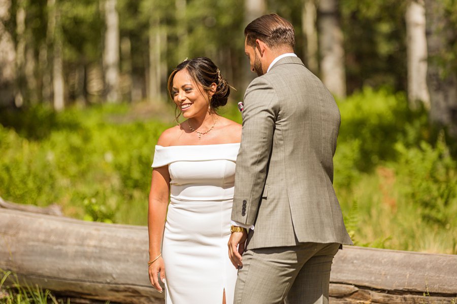 Jeanne-Marie and Rami: Flagstaff Snowbowl Wedding happy bride