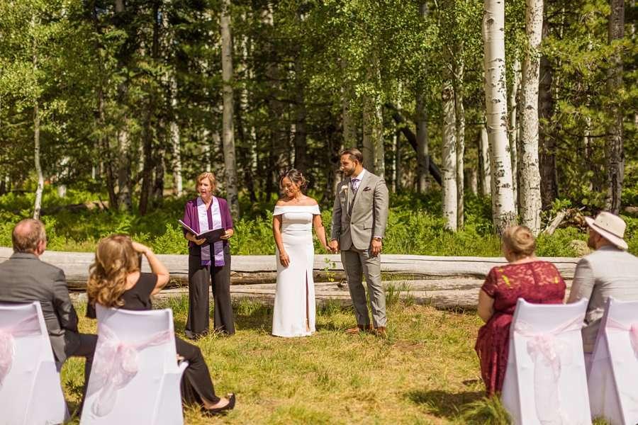 Jeanne-Marie and Rami: Arizona Mountains Wedding the ceremony Aspen Corner Flagstaff Elopement