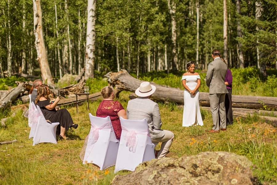 Jeanne-Marie and Rami: Flagstaff Snowbowl Wedding during the ceremony