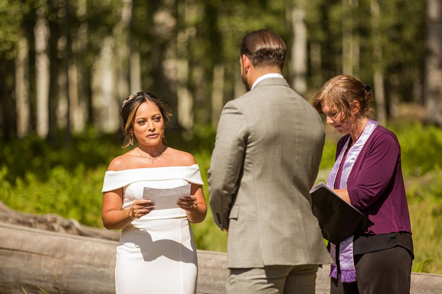 Jeanne-Marie and Rami: Arizona Mountains Wedding her vows