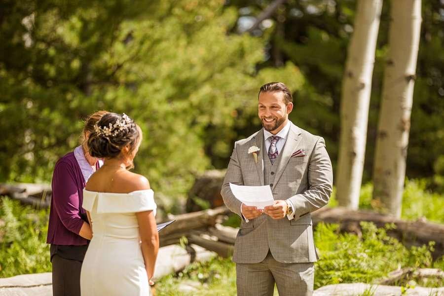 Jeanne-Marie and Rami: Flagstaff Snowbowl Wedding groom smiling