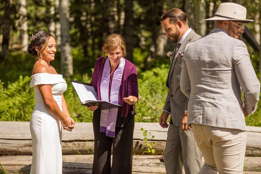 Jeanne-Marie and Rami: Arizona Mountains Wedding ring exchange