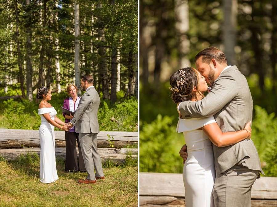 Jeanne-Marie and Rami: Arizona Mountains Wedding the first kiss