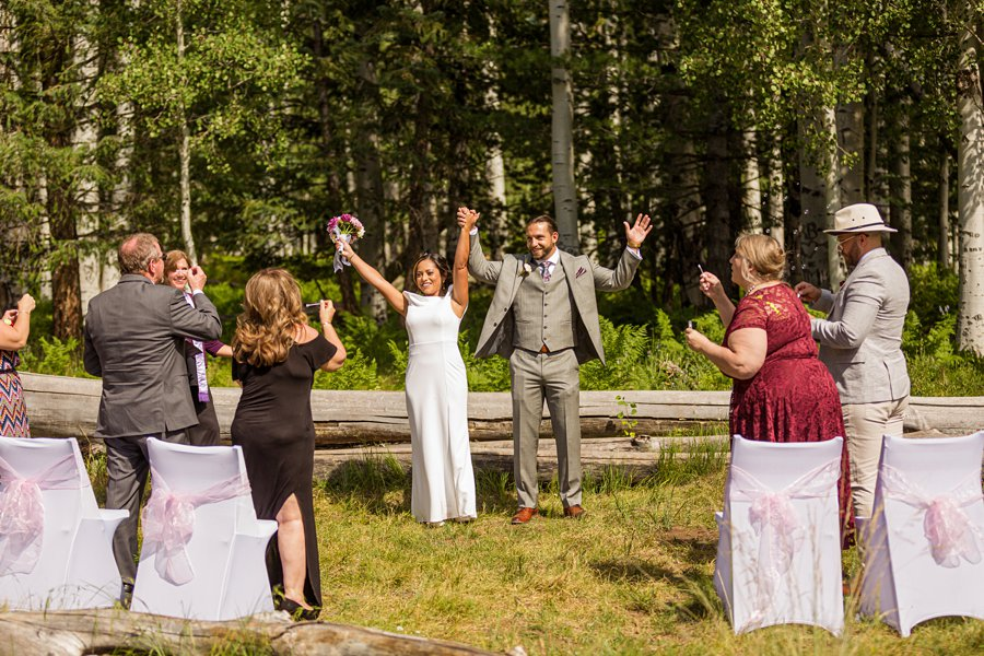 Jeanne-Marie and Rami: Flagstaff Snowbowl Wedding announcing the couple