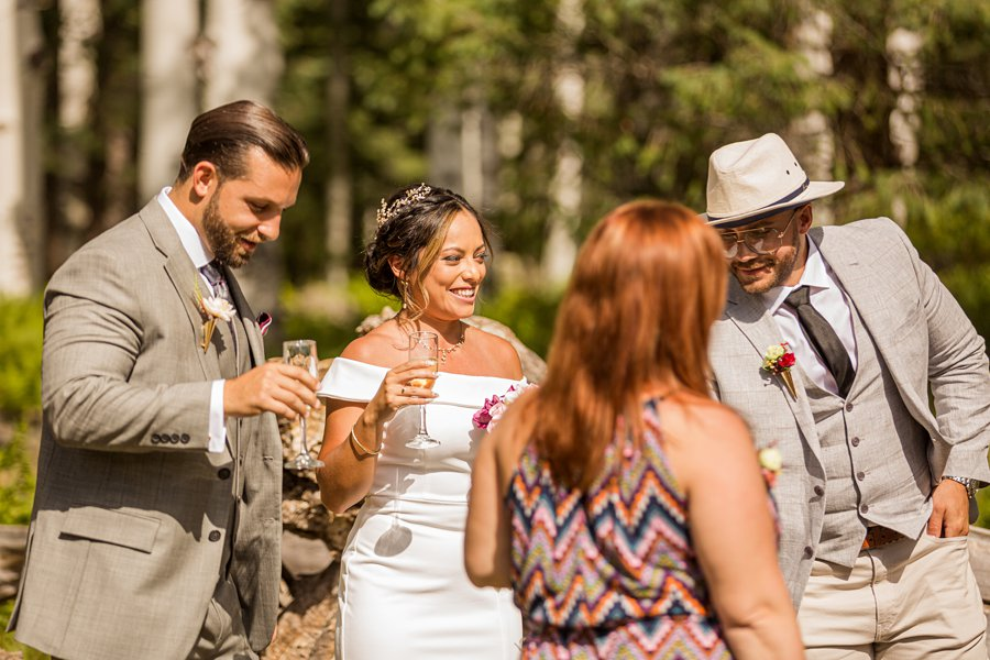Jeanne-Marie and Rami: Flagstaff Snowbowl Wedding toast and cheers
