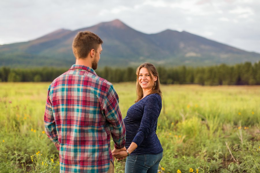 Katie and Rudy: Maternity Photographers Northern Arizona leading into the field