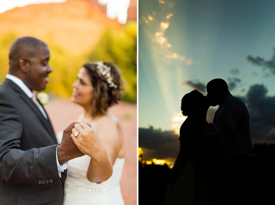 Magda and Charles: Weddings in Sedona sunset slhouettes