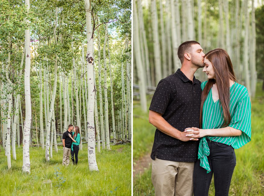 Taylor and Kevin: Lockett Meadow Engagement Session forehead kisses