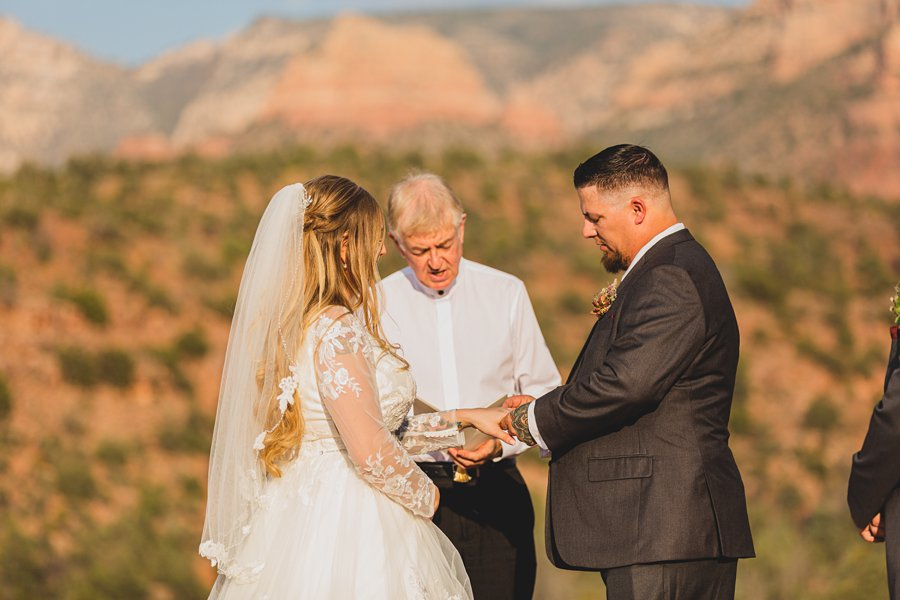 Chelsea and Bryan: Elopement Photographers Northern AZ ring exchange