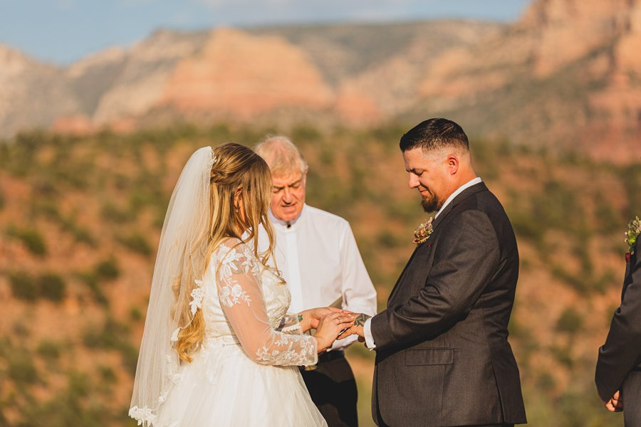 Chelsea and Bryan: Elopement Photographers Northern AZ exchanging vows