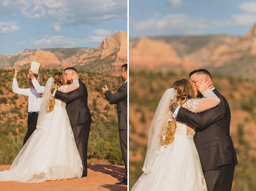 Chelsea and Bryan: Elopement Photographers Northern AZ the first kiss