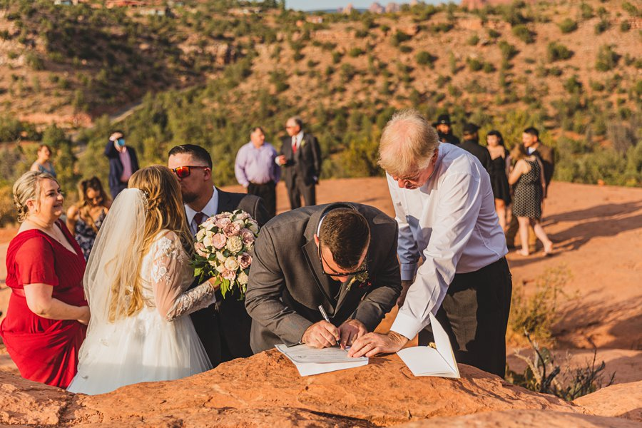 Chelsea and Bryan: Elopement Photographers Northern AZ signing license