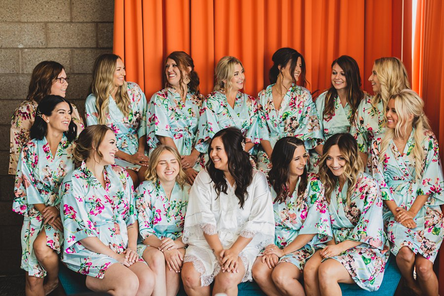 Leah and Trenten: Hotel Valley Ho Scottsdale Wedding the wedding bridal party in robes
