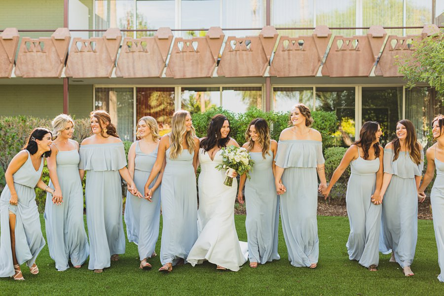 Leah and Trenten: Scottsdale Elopement Photographers intimate poses for bridal party