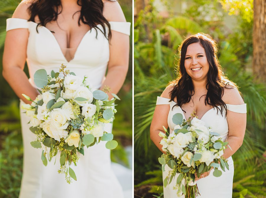 Leah and Trenten: Scottsdale Elopement Photographers bride and flowers