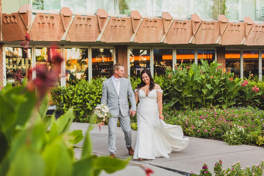 Leah and Trenten: Hotel Valley Ho Scottsdale Wedding couple walking together