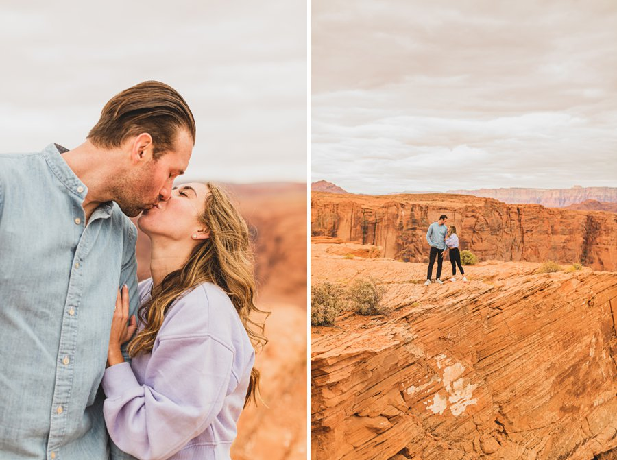 Steve's Surprise Arizona Engagement Locations couple kissing Surprise Horseshoe Bend Proposal