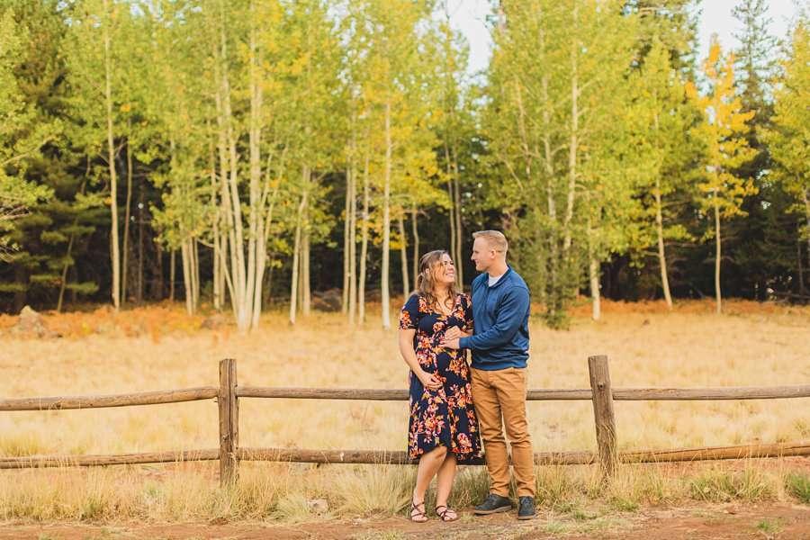 Ben and Alexandra: Flagstaff Autumn Maternity Photography aspen corner