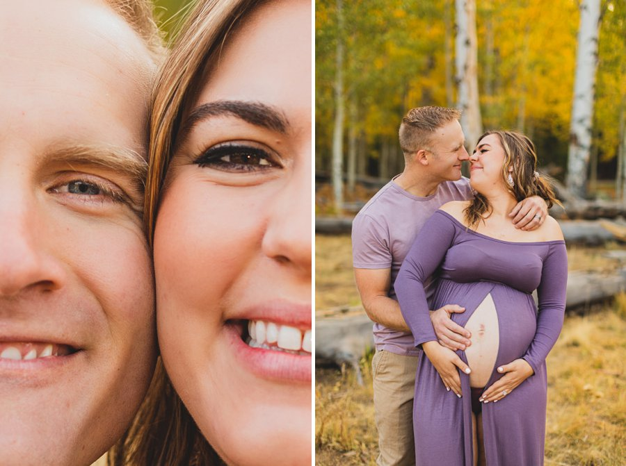 Ben and Alexandra: Flagstaff Autumn Maternity Photography couple unique pose