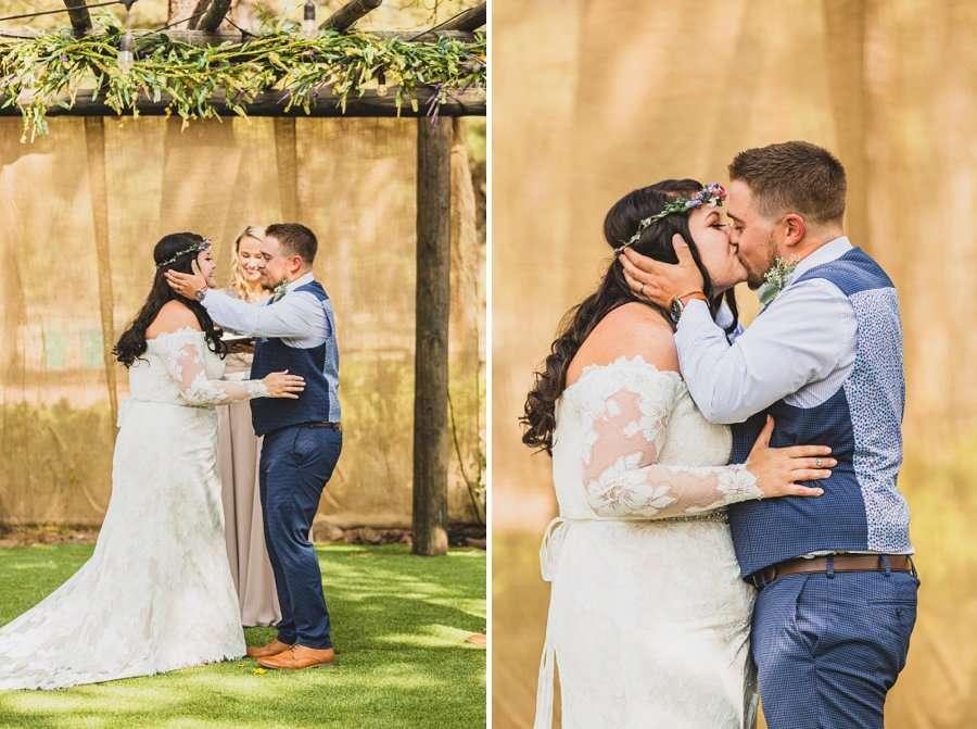 Lexi and Garrett: Northern Arizona Wedding Venues the first kiss