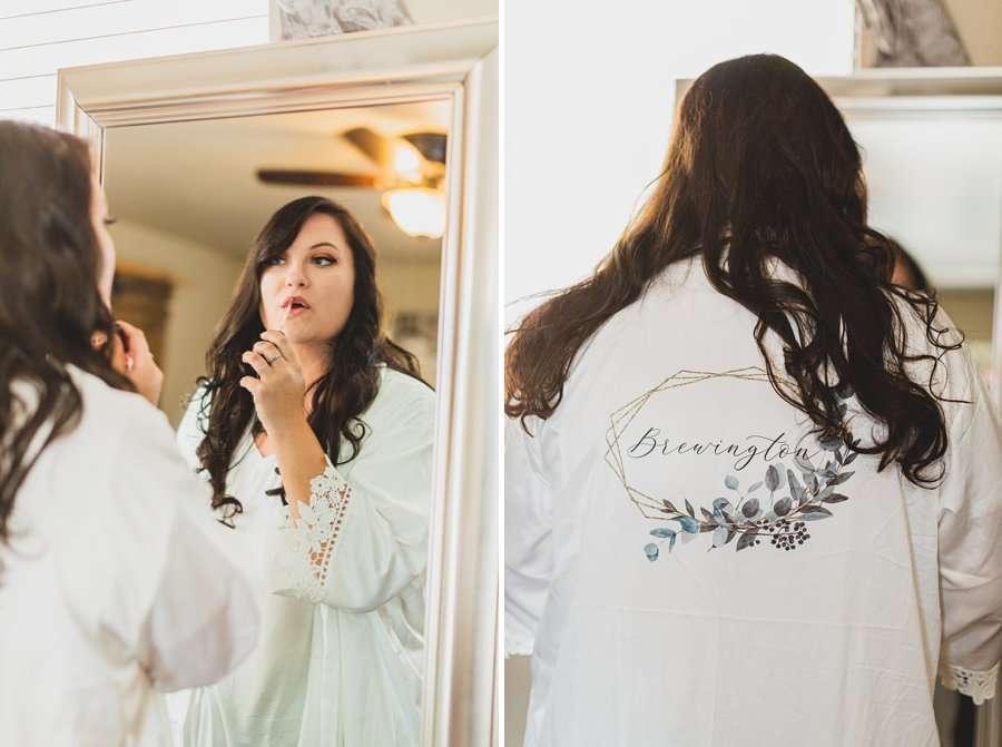 Lexi and Garrett: Flagstaff Meadow Mountain Wedding bride going her makeup