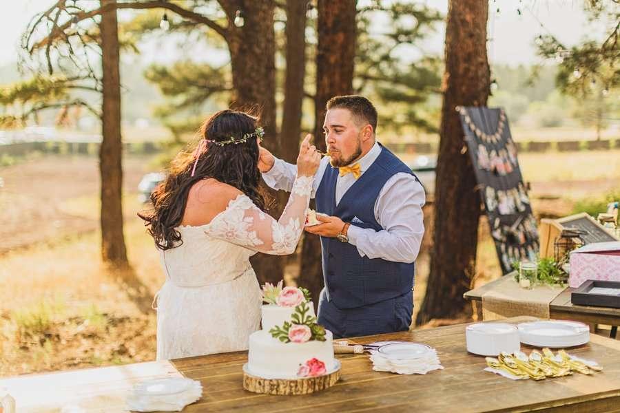 Lexi and Garrett: Northern Arizona Elopements feeding cake