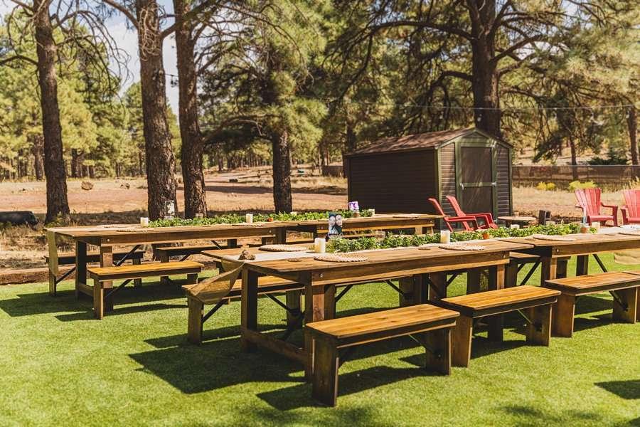 Lexi and Garrett: Flagstaff Meadow Mountain Wedding reception area
