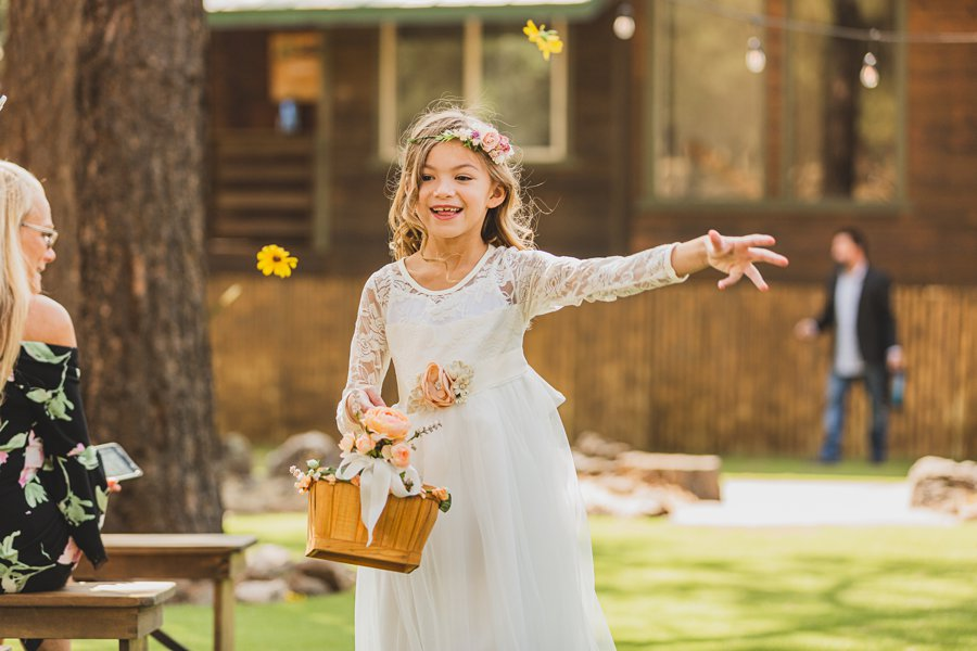 Lexi and Garrett: Flagstaff Meadow Mountain Wedding flower girl
