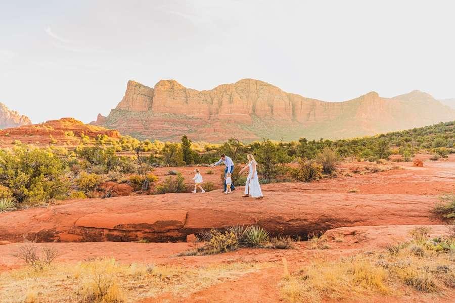 Maclean Family: Family Photographers Sedona AZ walking together