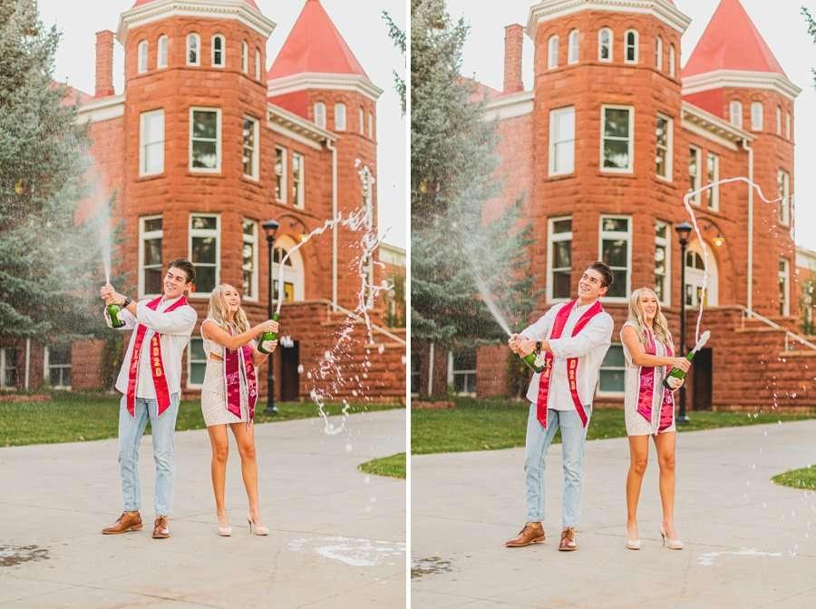 Micaela and Justin: NAU Senior Portraits popping champagne