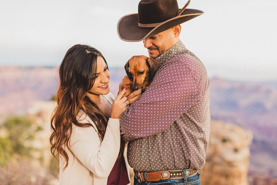 Yesenia and Justin: Grand Canyon Engagement Photographers loving on the dog
