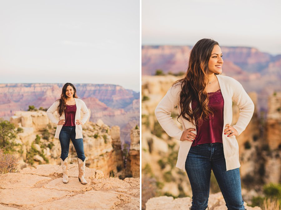 Yesenia and Justin: Grand Canyon Engagement Photographers female alone