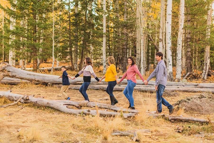 Barrett Family: Aspens Flagstaff Portrait Photographers walking together