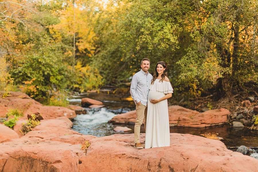 Ciara and Michael: L'Auberge Sedona Maternity Portraits creekside