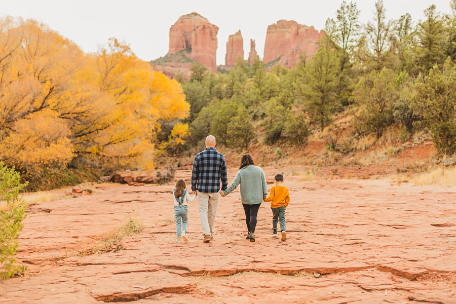 Serrano Family: Red Rock Crossing Portraits hiking together